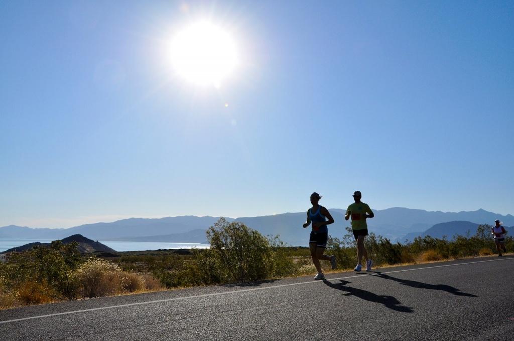 biegacze w słońcu